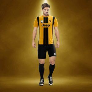 Juventus Sarı-Siyah Dijital Halı Saha Forma + Şort + Tozluk + Sınırsız Baskılar Dahil
