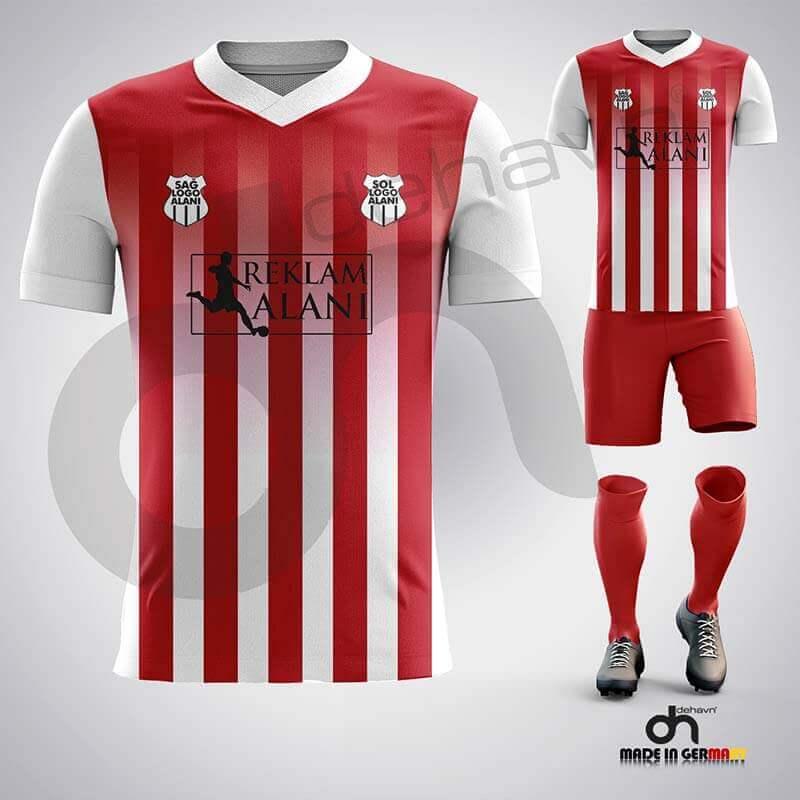 Salvador Beyaz-Kırmızı Dijital Halı Saha Forma
