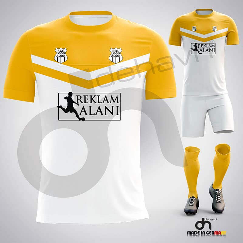 Victory Beyaz-Sarı Dijital Halı Saha Forma