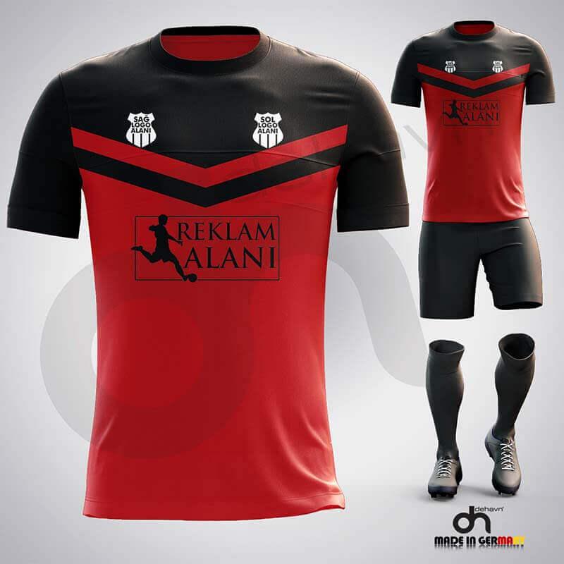 Victory Kırmızı-Siyah Dijital Halı Saha Forma